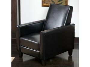 Christopher Knight Home Darvis Black Leather Recliner Club Chair - Black