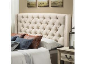 Christopher Knight Home Perryman Wingback Queen/Full Tufted Beige Fabric Headboard