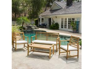 Christopher Knight Home Emilano Outdoor 4-piece Acacia Wood Chat Set with Cushions
