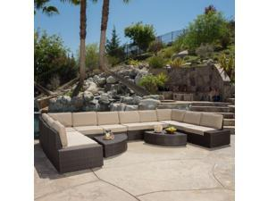 Christopher Knight Home Santa Cruz Outdoor Brown PE Wicker 12-Piece Sofa Set