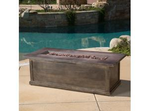 """Christopher Knight Home Anchorage 56"""" Brown Wood Rectangular MGO Fire Table Brown - 50,000 BTU with Concrete Tank Holder"""