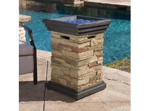 "Christopher Knight Home Chesney 19.50"" Stone MGO Fire Column - 40,000 BTU"