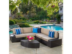 Christopher Knight Home Santa Cruz 6 Piece Brown PE Wicker Sofa Set