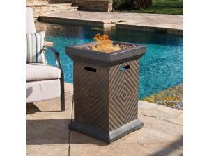 """Christopher Knight Home Mendocino Outdoor 19"""" Column Liquid Propane Fire Pit with Lava Rocks"""