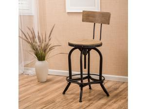 Christopher Knight Home Stirling Adjustable Wood Backed Bar Stool