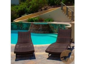 Christopher Knight Home Outdoor Brown Wicker Adjustable Chaise Lounge Chair (Set of 2)