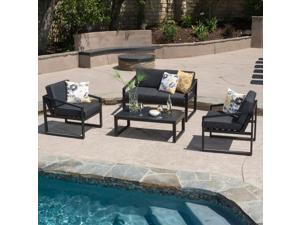 Christopher Knight Home Navan Outdoor 4-piece Aluminum Chat Set with Cushions