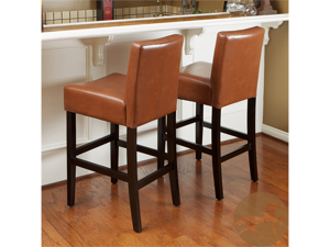 Christopher Knight Home Hazelnut Leather Bar Stools (Set of 2)