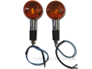 "3"" Chrome Round Amber Motorcycle Turn Signal Indicator Pair for Harley Davidson Chopper"