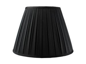 Empire Box Pleated Black Shantung Fabric Lamp Shade 8x16x12