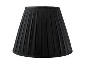 Empire Box Pleated Black Shantung Fabric Lamp Shade 8x16x12