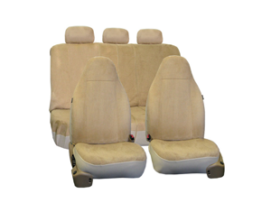 FH Group Suede Airbag & Split Compatible Full Set Car Seat Covers (Beige)