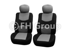 Pair Bucket Fabric Seat Covers w. Detachable Headrest Gray & Black