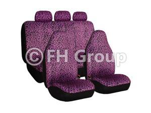 Purple Leopard Seat Covers Airbag Compatible & Split Rear W. 3 Rear Headrests