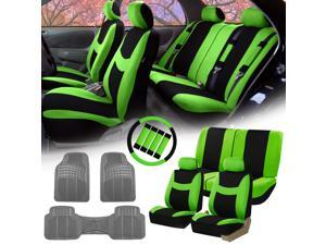 Green Black Car Seat Covers For Auto W Steering