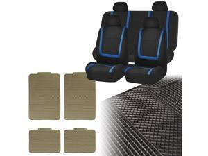 Car Seat Covers Blue Black Full Set for Auto w/Heavy Duty Floor Mats 4 Headrest