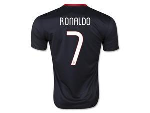 Men's 2015 Portugal Cristiano Ronaldo 7 Black Away Soccer Jersey (US Size Large)