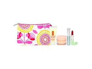 Clinique Travel Set (Pink and Yellow Floral) 5 Piece Set