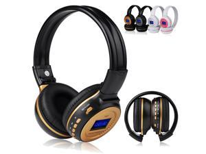 New Black Stereo Digital Wireless Rechargeable Headphone Headset Earphone Support MMC SD TF with Mic FM Radio 3.5mm Port for All Smartphones Tablet PC Laptop Computers