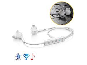 White Wireless Bluetooth 4.0 A2DP Stereo Earphone Handsfree Headphone Headset with Mic, Volume Control, Sweat-proof For Samsung Galaxy S5 S4 S3 Note 2 3 HTC ONE M8 LG G2 Moto X Sony Nokia 1520 1020 PC
