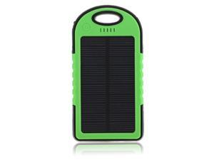 5000mAh Dual-USB Port Waterproof Solar Panel Charger Power Bank Battery Charger Backup for iPhone 6 5S 5C 5 iPad Air iPad Mini Samsung Galaxy S5 S4 S3 Note 3 2 Nokia 920 820 Sony Xperia Z1 Z2 - Green