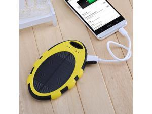 Yellow 5000mAh Dual-USB Port Solar Panel Charger Waterproof Shockproof Dustproof Power Bank External Battery Charger Backup for iPhone 6 6 Plus 5S 5C 5 iPad Air 5 4 3 iPad Mini GPS Camera etc.