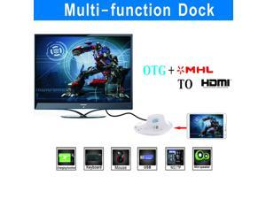 White OTG MHL to HDMI Multi-function Desktop Charger Charging Dock Docking Station Support Mouse, Keyboard, USB, SD/MS/M2/TF Card for Samsung Galaxy S4 S3 Note 4 3 2, Galaxy T310 311 Series