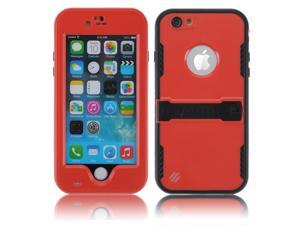 Red Premium Durable Waterproof Case Shockproof Dirtproof Snowproof Rainproof Case Cover with Stand for iPhone 6 4.7 inch - Touch ID Support & Fingerprint Identification