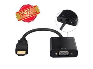 [2015 New Generation]1080P HDMI(Gold-Plated) Black Male to VGA Female Video Converter Adapter with Micro USB and 3.5mm Audio Port Cable For PC Laptop DVD and Other HDMI Input Devices