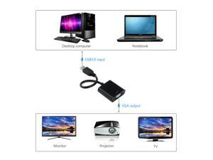 VicTake Black USB 3.0 to VGA Adapter Cable Multi Monitor External Video Card Adapter for Windows 7 8 Multiple Monitors