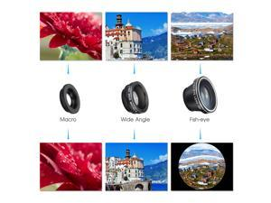 [New Clip One] VicTsing® Clip 180° Fish-Eye Lens+Wide Angle Lens+Micro Lens 3-in-1 Easy-Use Camera Lens Kits (Black) for iPhone 6 6 Plus 5 5C 5S 4S 4 3GS iPad mini iPad Air 4 3 2 Samsung Galaxy S4 S3