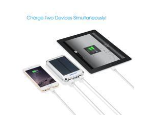 Victsing Solar Power Panel Dual USB External Portable Mobile Battery Charger 16000mAh Power Bank Pack  -  Black