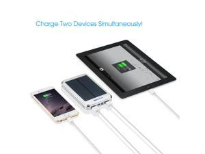 Victsing Solar Power Panel Dual USB External Portable Mobile Battery Charger 16000mAh Power Bank Pack  -  Silver