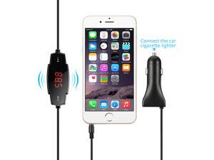 [Newest 5V 2.4A USB Charging Port] FM Transmitter, VicTsing 3.5mm In-car Universal FM Transmitter Radio Adapter Car Kit and Car Charger for iPhone 6s 6s Plus iPhone 6 6 Plus 5S 5C 5 5G 4S etc