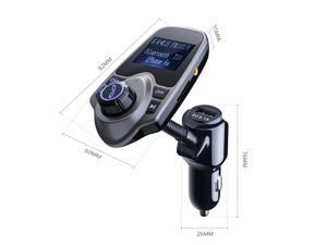Victake Wireless Bluetooth Car FM Transmitter w/ USB Charger Kit for All Smartphones, Tablets, MP3 Players