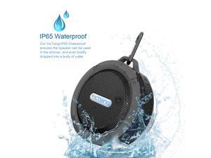 VicTsing Indoor/Outdoor Wireless Bluetooth 3.0 Waterproof Shower Speaker - with 5W Speaker/Suction Cup/Mic/Hands-Free Speakerphone for Computers & Smartphones - Gray