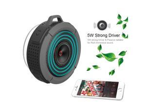 VicTsing Wireless Bluetooth 3.0 Waterproof Outdoor / indoor Shower Speaker, with 5W Speaker/Suction Cup/Mic/Hands-Free Speakerphone for Computers & Smartphones - Gray