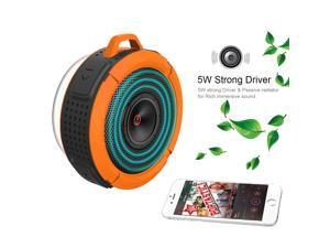 Orange VicTsing Bluetooth Indoor/Outdoor Wireless Speaker Bluetooth 3.0 Waterproof Shower Speaker, with 5W Speaker/Suction Cup/Mic/Hands-Free Speakerphone for Computers & Smartphones -
