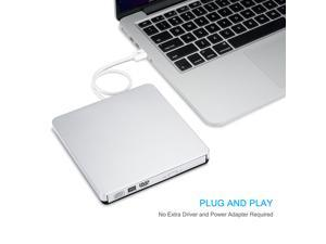 VicTsing USB 2.0 Slim External DVD-RW CD-RW Drive Burner Writer for HP Dell IBM Sony Toshiba Acer Asus, Apple Macbook, Macbook Pro, Macbook Air - Laptop Netbook Notebook PC - Silver