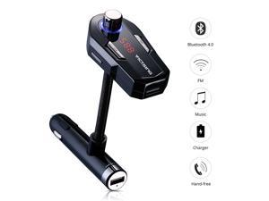 VicTsing Universal Bluetooth Wireless FM Transmitter & Car Charger with 2 USB Type A Charging Port, Hand-free Car Kit with Hands-Free Calling, Music& Volume Control, Mic, With LCD Digital Screen& 3.5m