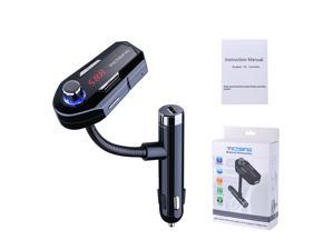 VicTsing Bluetooth FM Transmitter Hands-free Car Kit Charger with 2 USB Port, 3.5mm Audio Port for iPhone and Android