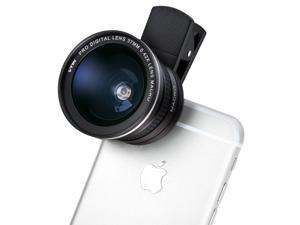 2-IN-1 Clip-on Cell Phone Camera Lens Kit, 180 Degree Fisheye Lens/ 10X Marco Lens for iPhone 6S, 6S Plus, Samsung Galaxy, Windows, and Android Smart phones