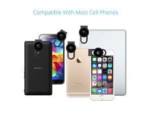 VicTsing® 3 in 1 Lens Kit Clip-On 3 Element 3 Group Supreme Fisheye Lens + 12X Macro + 24X Super Macro for Apple iPhone 6 plus/6/5/5S/4/4S, iPad Air 2/1, iPad 4/3/2, iPad Mini 3/2/1, Samsung Galaxy S6
