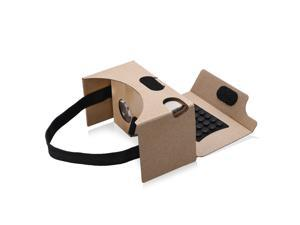 VR Cardboard V2.0 3D Glasses Virtual Reality with Suction Cups, Nose Pad, Sweat-resistant Film, Headband, Touch Button, QR code For Android & Apple Smartphones with 4-5.5 Inches Screen