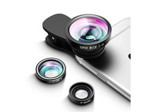 Upgraded 3 in 1 Fisheye Lens Plus Macro Lens Plus 0.4x Super Wide Angle Lens Plus 2 Detachable Clamps, Camera Lens Phone Lens Kit for iPhone, Samsung, HTC etc