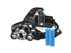 High Power Headlamp Rechargeable LED Lamp with 4 Light Modes, 2 Rechargeable Batteries included, Perfect for Hiking Camping Riding Fishing Hunting