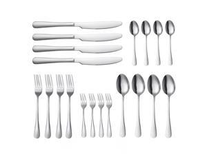 20-Piece Stainless Steel Flatware Set with 4 Dinner Forks, 4 Salad Forks, 4 Tablespoons, 4 Teaspoons, 4 Dinner Knifes, Service for 4