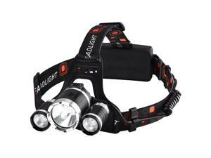 Black 3000 Lumen XM-L XML 3 x T6 LED Headlight Light Headlamp Head Lamp Flashlight For Outdoor Hiking, Riding, Running, Biking, Camping and Other Activities