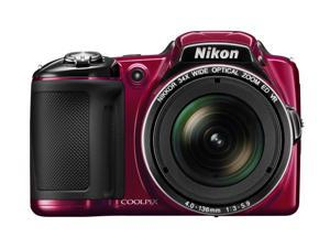 "Nikon Coolpix L830 16 Megapixel Compact Camera - Red - 3"" LCD - 16:9 - 34x Optical Zoom - 4x - Optical (IS) - 4608 x 3456 Image - 1920 x 1080 Video - HDMI - HD Movie Mode"