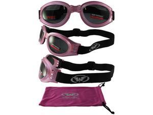 Global Vision Adventure Folding Motorcycle Goggles Gloss Pink Frames with Smoke Lenses